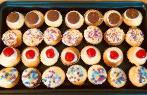 Decorated tiny little gf sponge cakes
