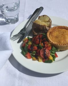 Voakes Free From spiced lentil and vegetable pie, jacket and salad!