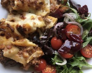Gluten free lasagne with fresh salad!