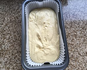 Gluten free Madeira cake prior to baking.