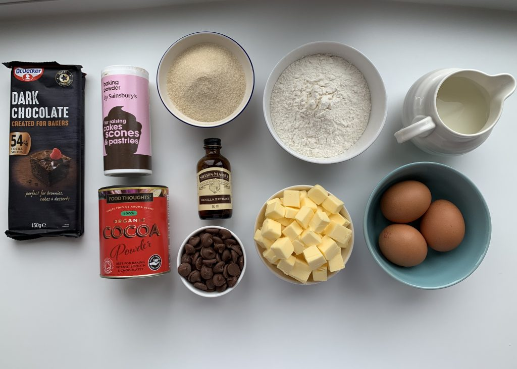 Flat lay of ingredients needed for gluten free chocolate muffins