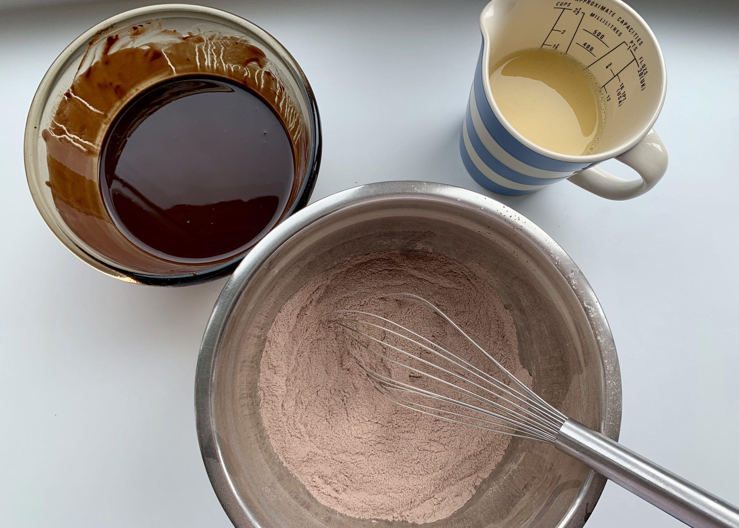 Ingredients needed to make gluten free chocolate muffins