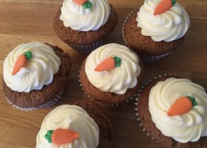 Gluten free carrot cupcakes with a cream cheese frosting