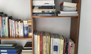 Cookery books on a bookcase