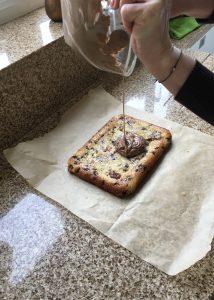 chocolate onto picnic slice