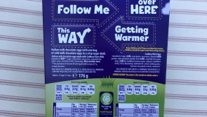 Back of the box of Cadbury Easter egg hunt