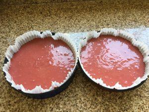 Gluten free red velvet cake before baking