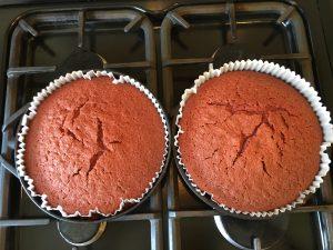 Gluten free red velvet cake fresh from the oven