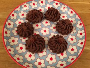 Chocolate fudge on a pretty plate