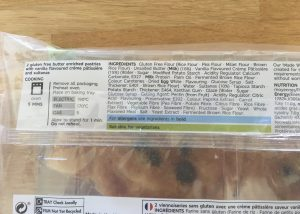 Ingredients of M&S gluten free Pains Aux Raisins