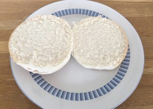 Morrisons gluten free white roll sliced in half