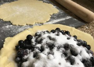 Gluten free pastry base filled with blackcurrants