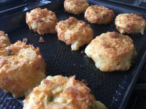Gluten free crispy cheese and onion potato bakes