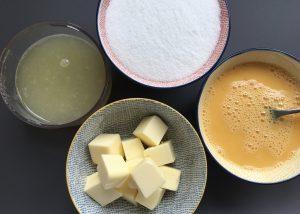 Ingredients for making lemon curd