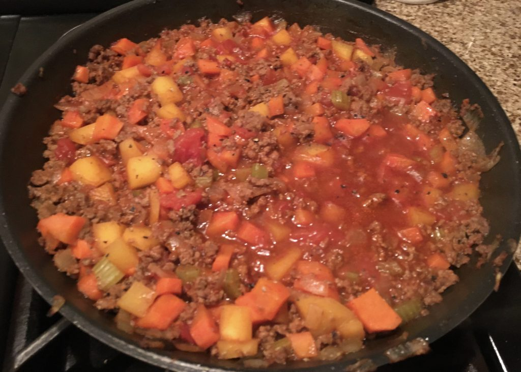 Minced beef base for my comforting cottage pie
