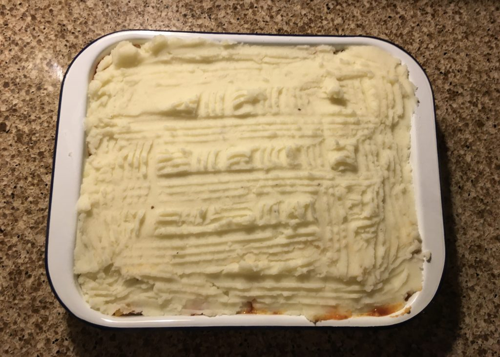 My comforting cottage pie - almost oven ready