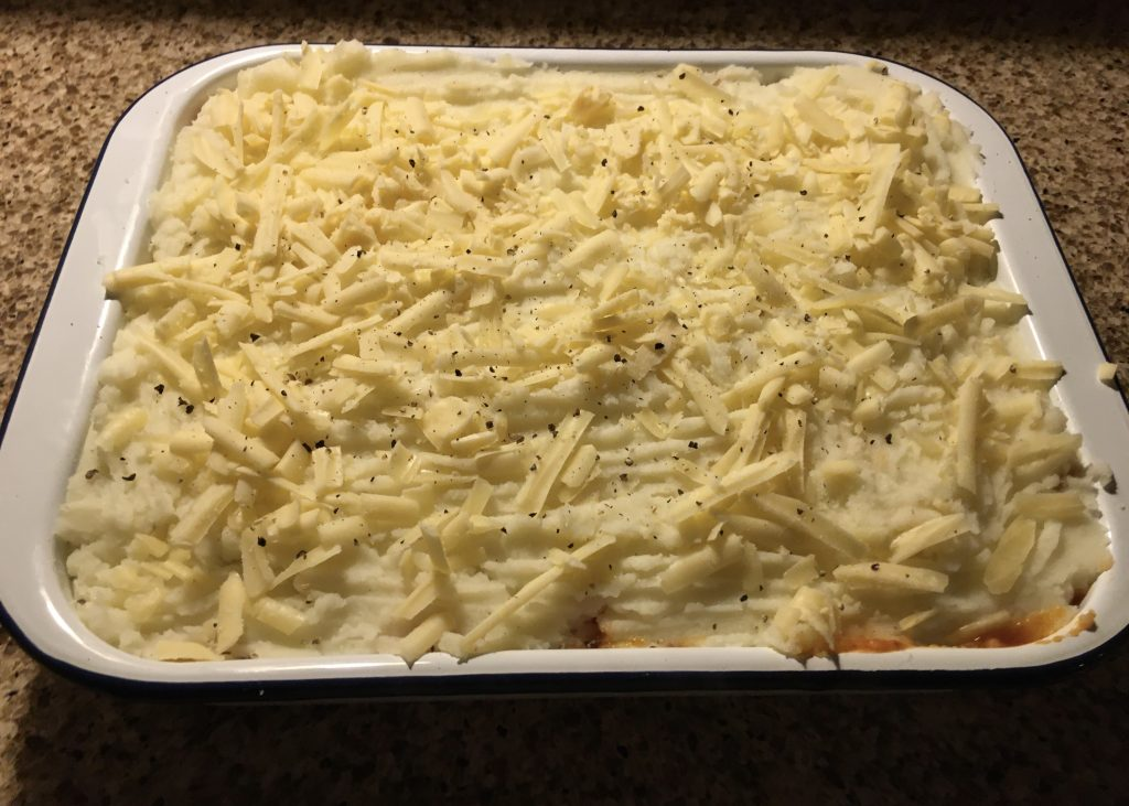 My comforting cottage pie with grated mature cheddar - oven ready