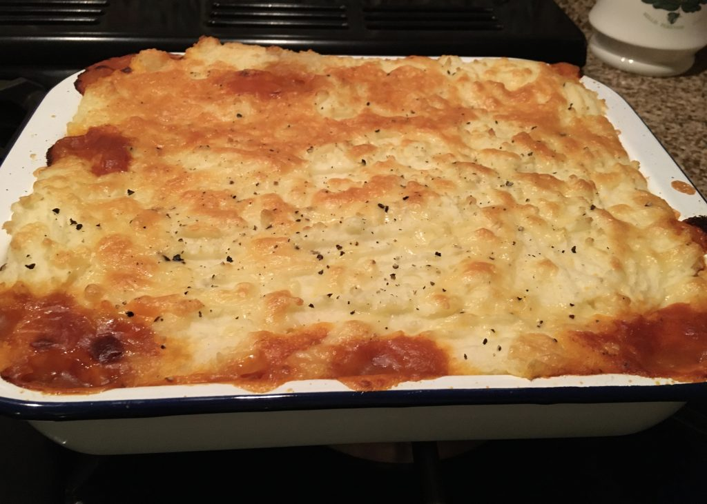 My comforting cottage pie fresh from the oven