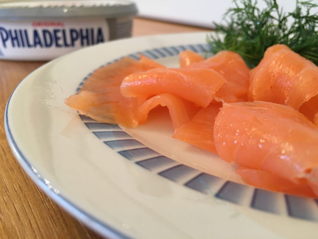 Smoked salmon and Philadelphia to top canapés