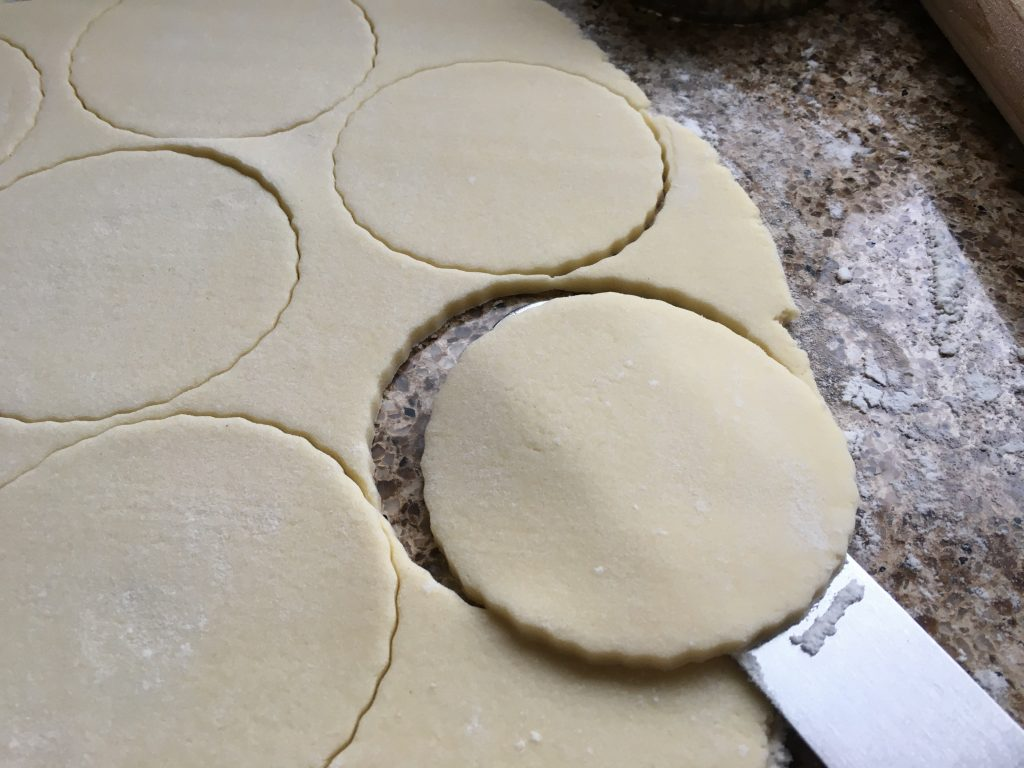 Gluten free pastry disks for frangipane topped mince pies.