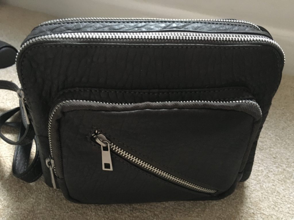 Grey leather bag from Mint Velvet at Cheshire Oakes. Way to save money and time at Christmas