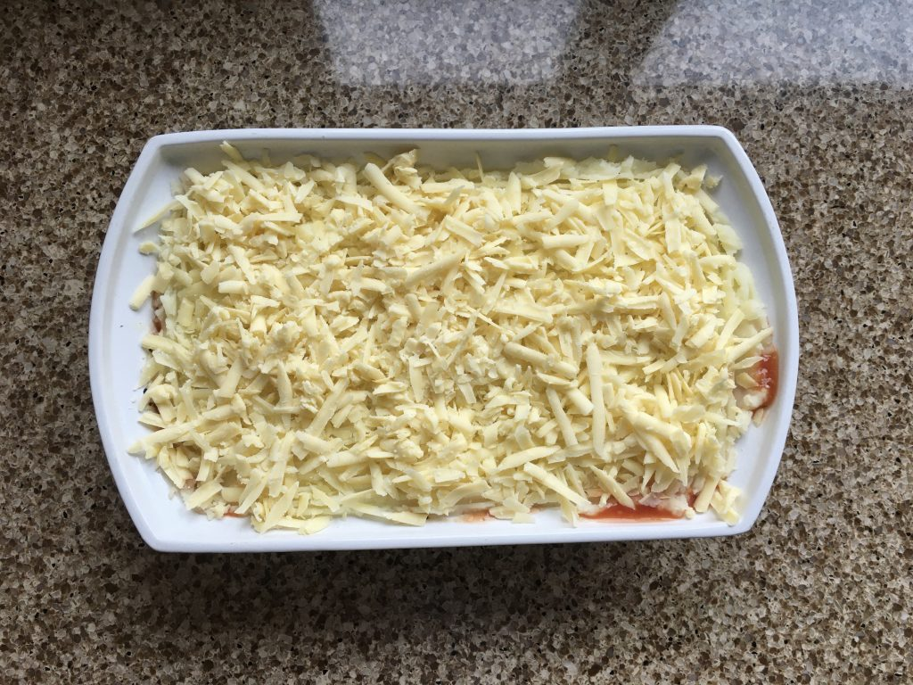 Baked bean bake ready for the oven