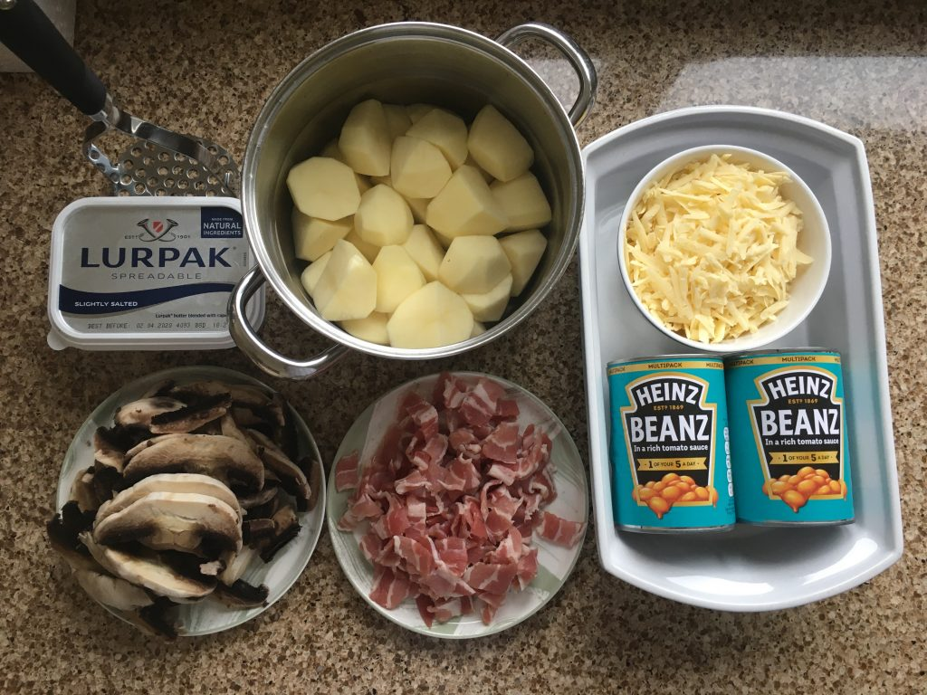 Ingredients for baked bean bake