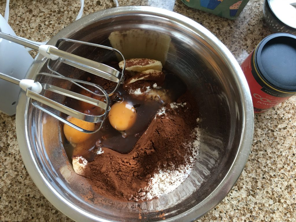Gluten free chocolate sponge ingredients ready to whisk up
