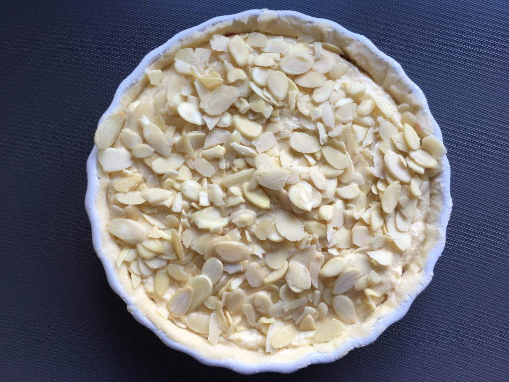 Gluten free almond tart ready to be baked