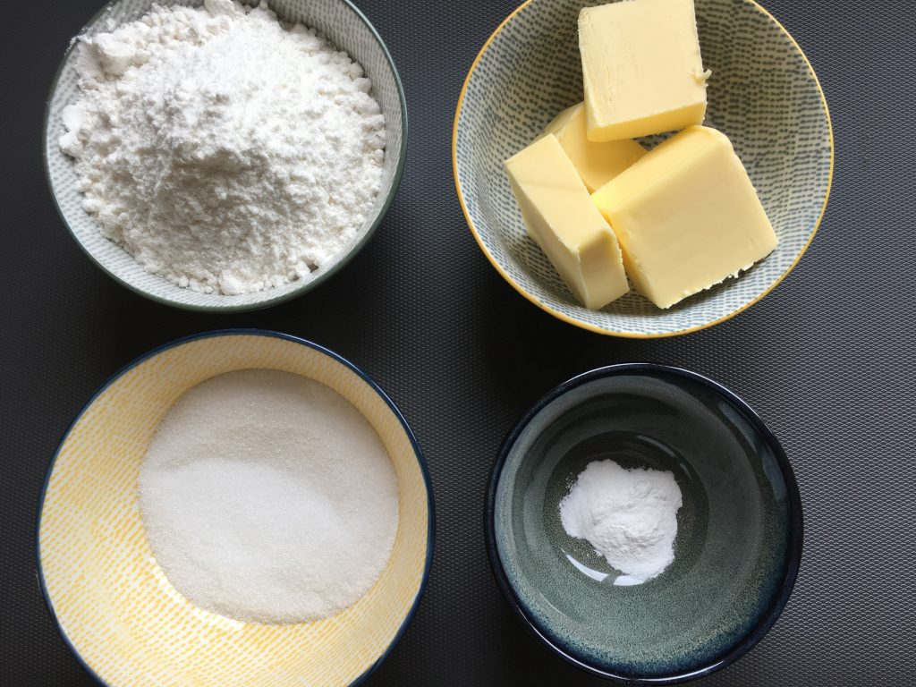 Ingredients for gluten free shortbread