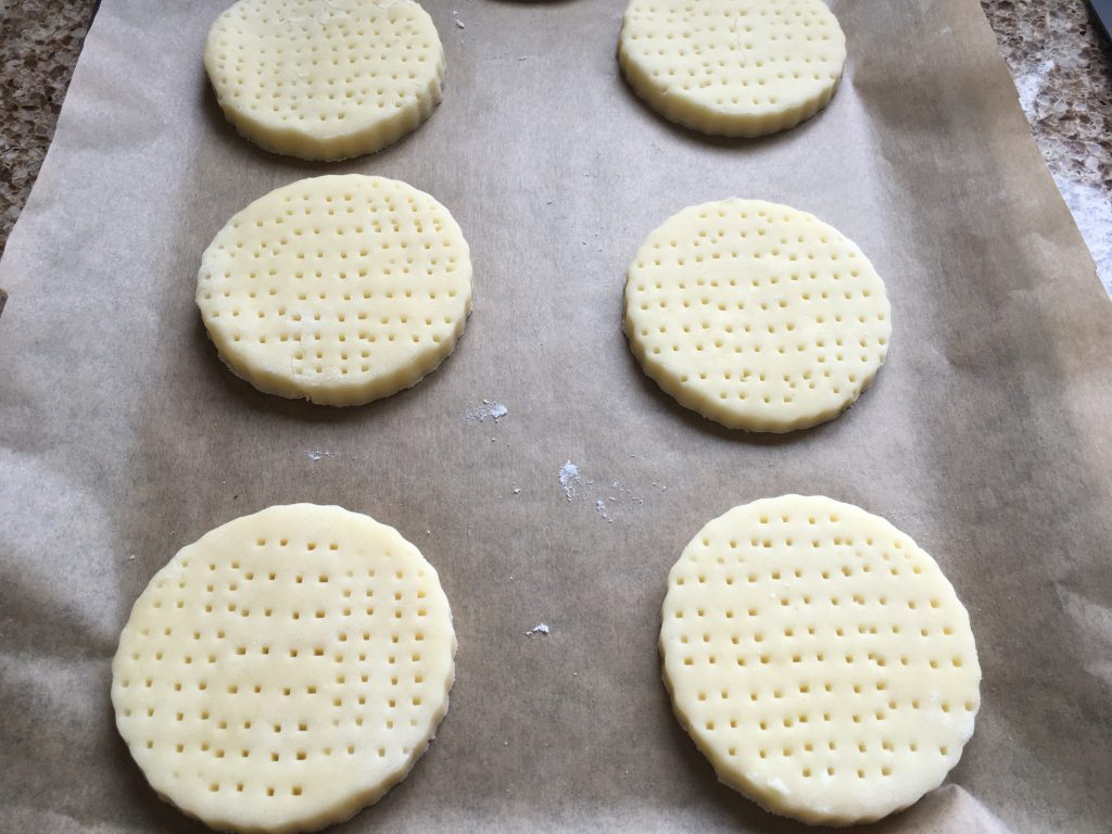 Gluten free shortbread biscuits before baked