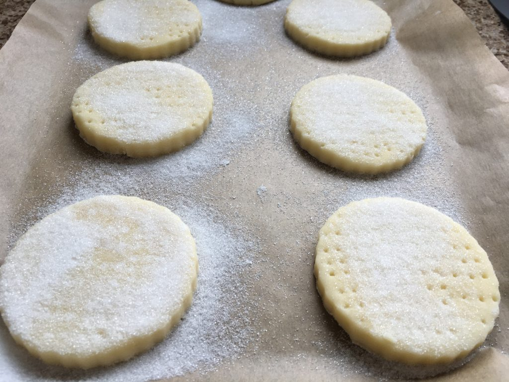 Gluten free shortbread with caster sugar before baked