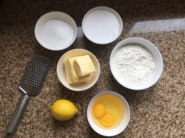 Ingredients for gluten free lemon drizzle cake
