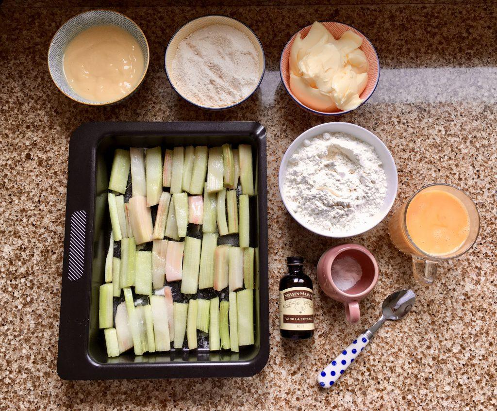 Ingredients to make gluten free rhubarb and custard cake