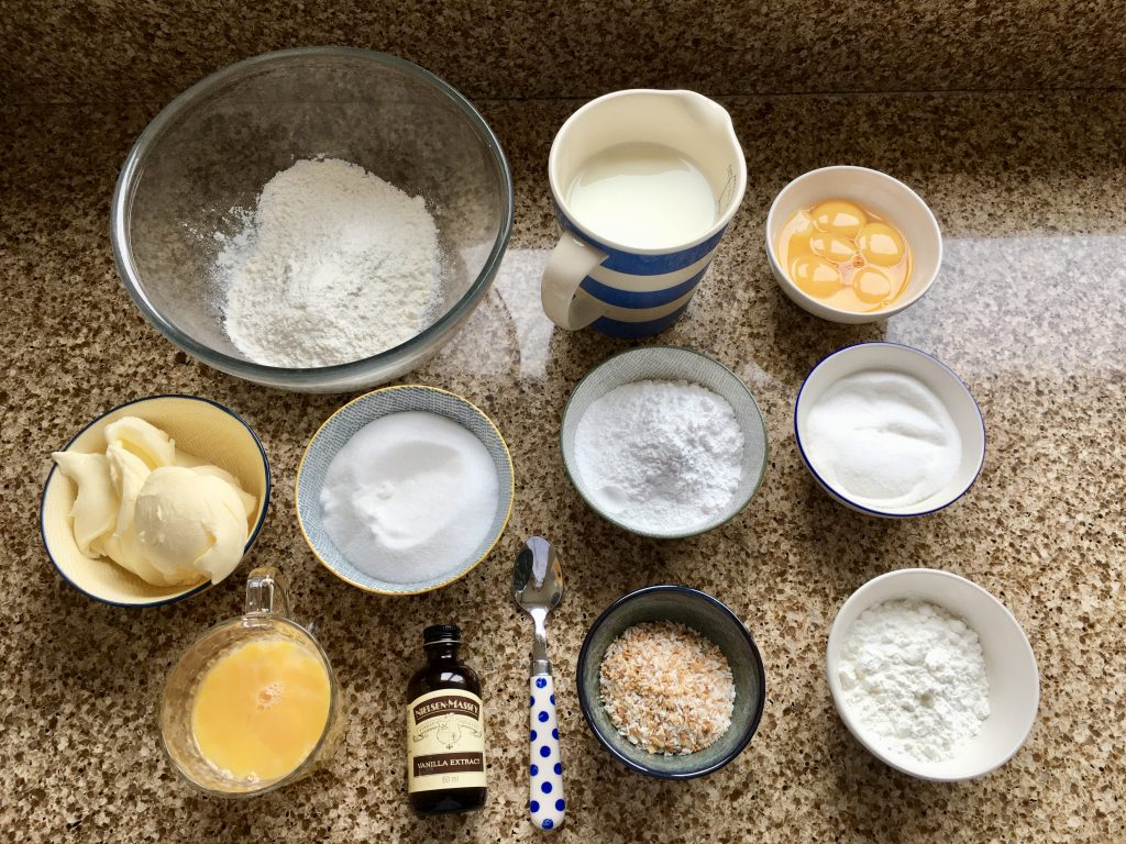 Ingredients needed to make gluten free Russian sandwich cake