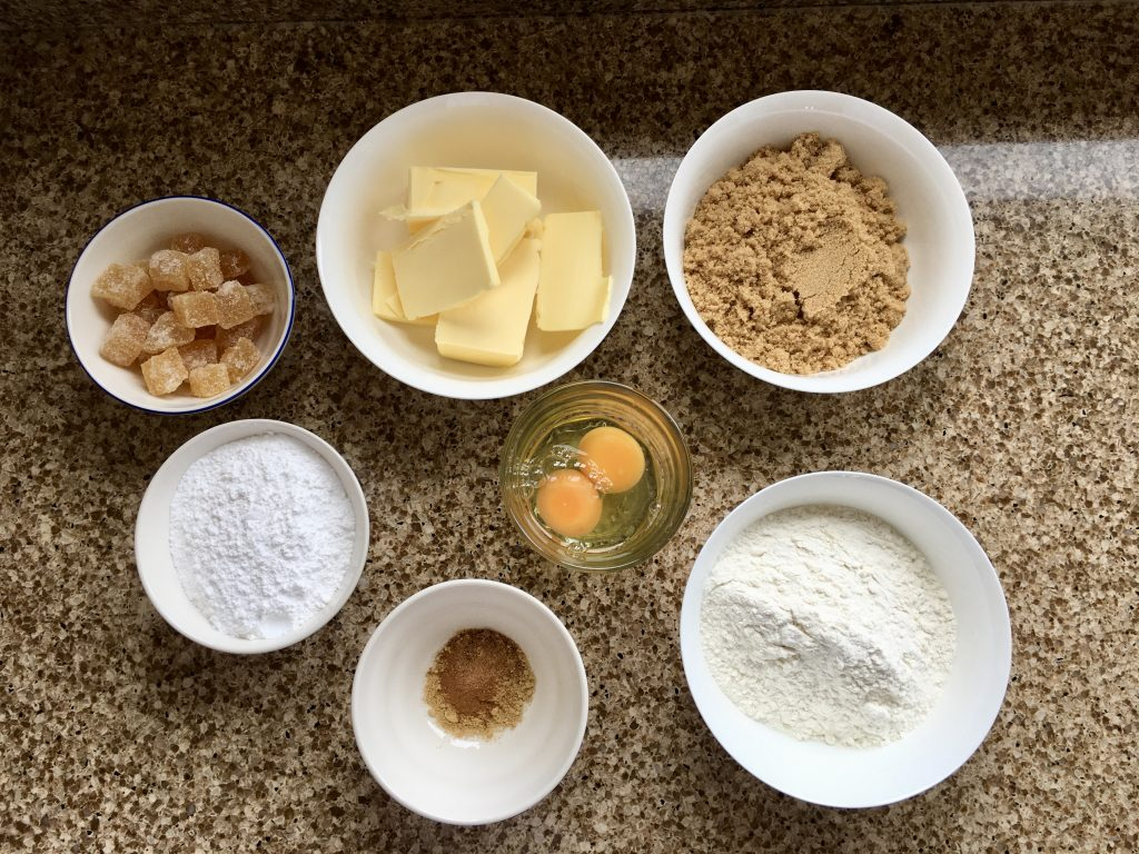 Ingredients needed to make gluten free ginger spiced cake