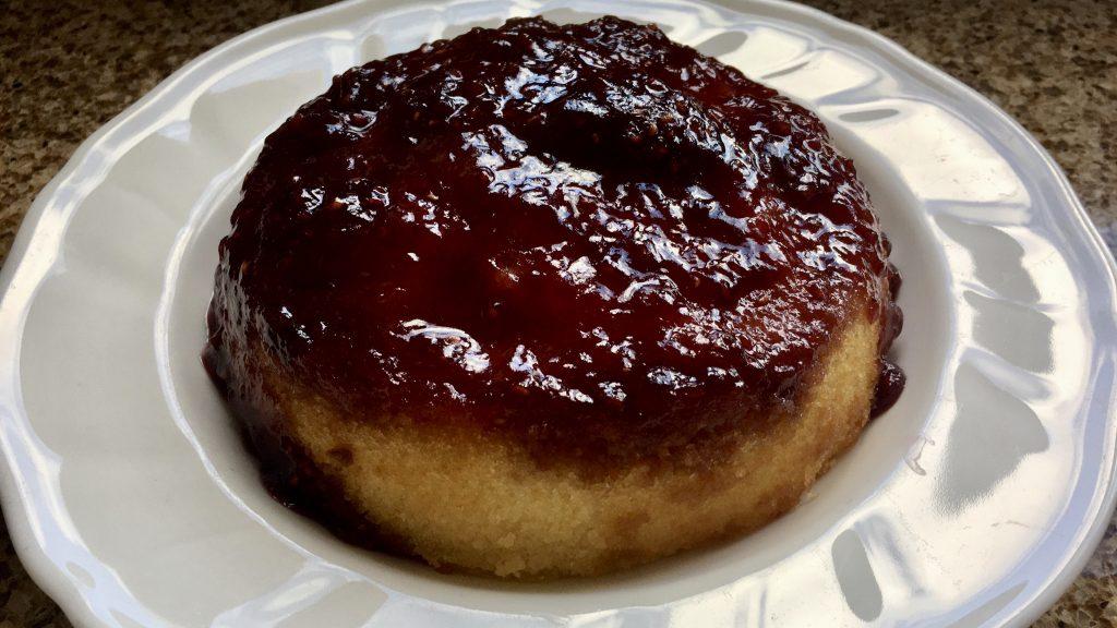 Gluten free steamed jam sponge pudding