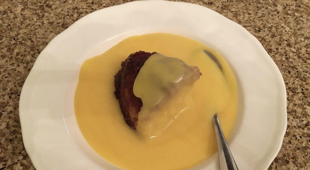 Gluten free steamed jam sponge and custard