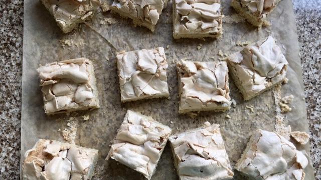 Gluten free Yum Yum cake cut into squares