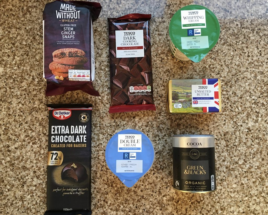 Ingredients for dark chocolate and ginger tart