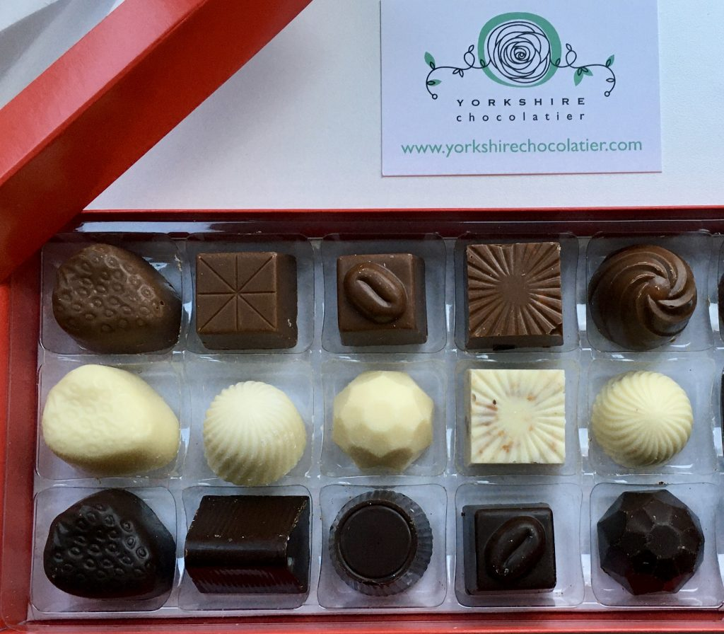 Box of chocolates by Yorkshire Chocolatier  Coeliac by Design Christmas edit