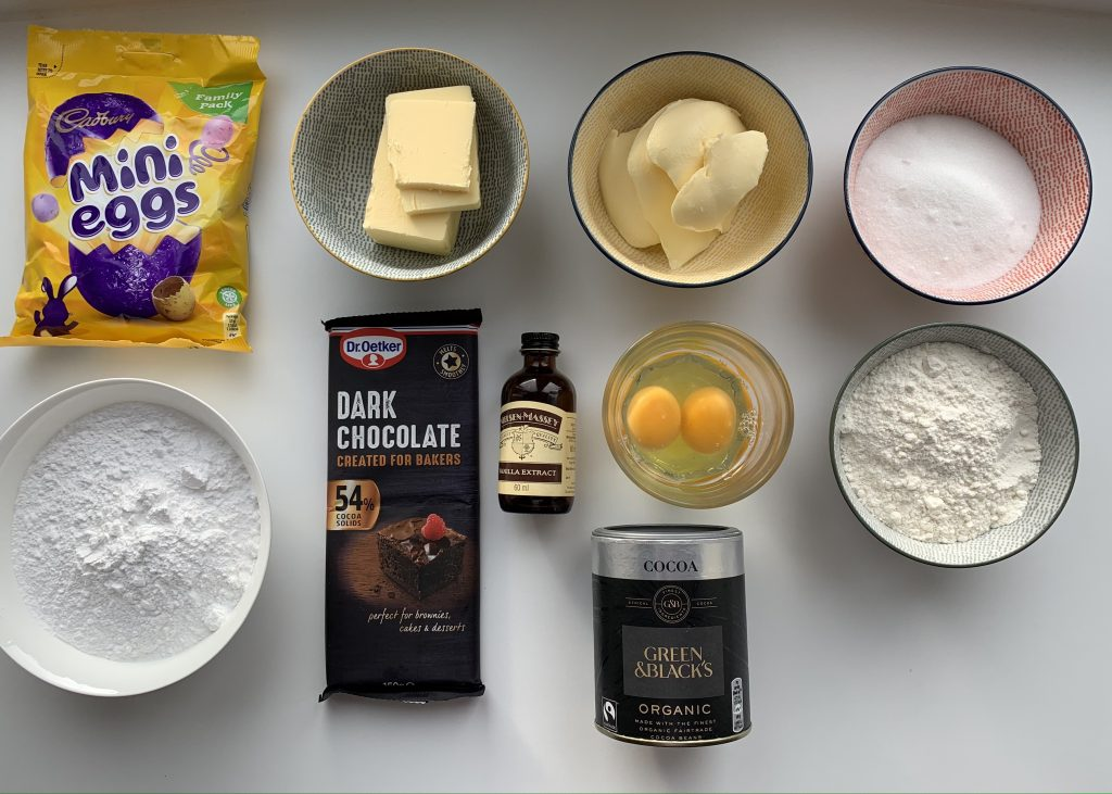 Ingredients for Gluten free Easter cupcakes