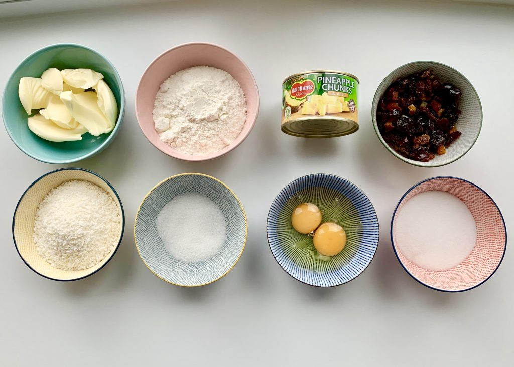 Ingredients for pineapple, coconut and fruit loaf