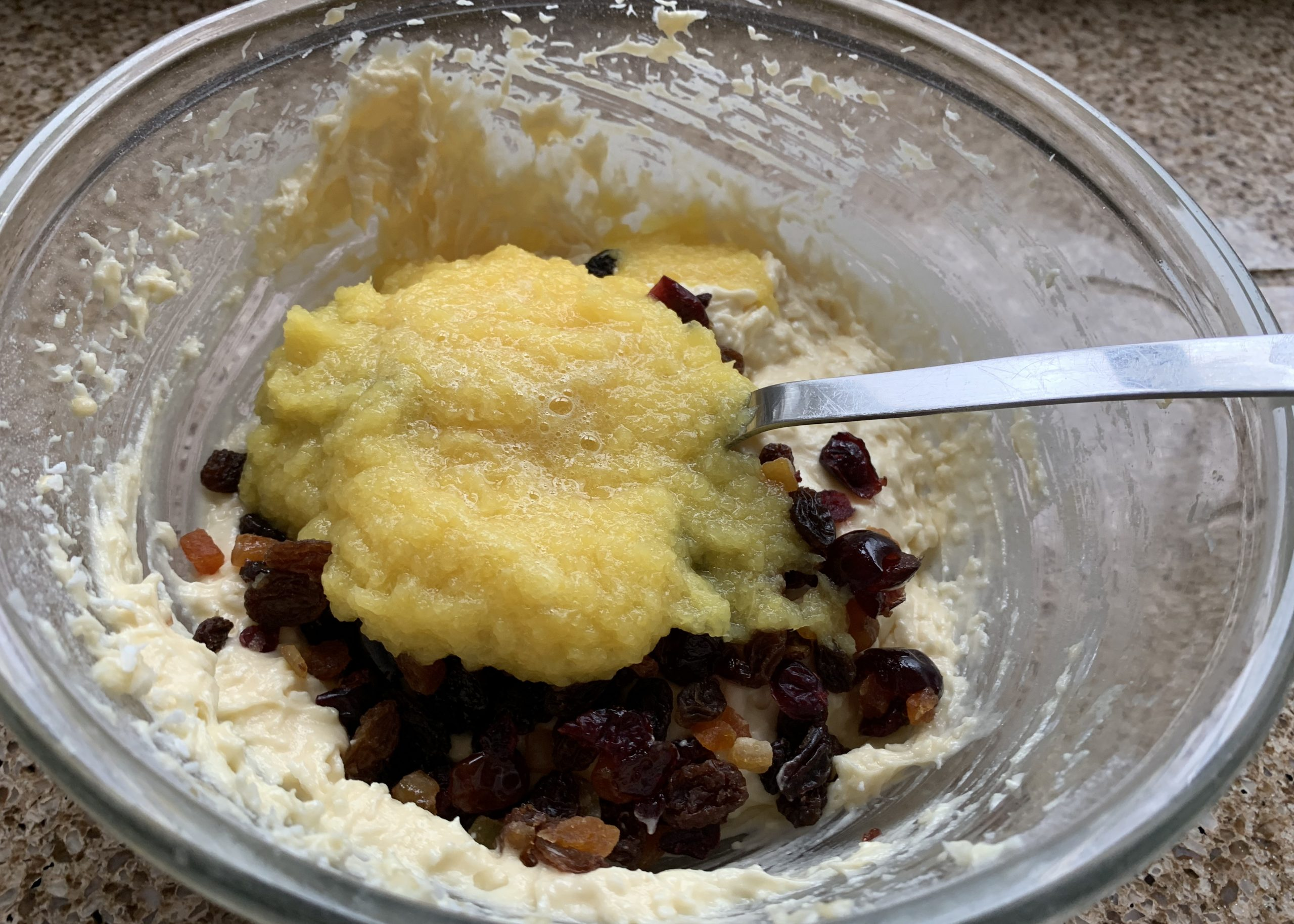 Cake mixture for pineapple, coconut and fruit loaf