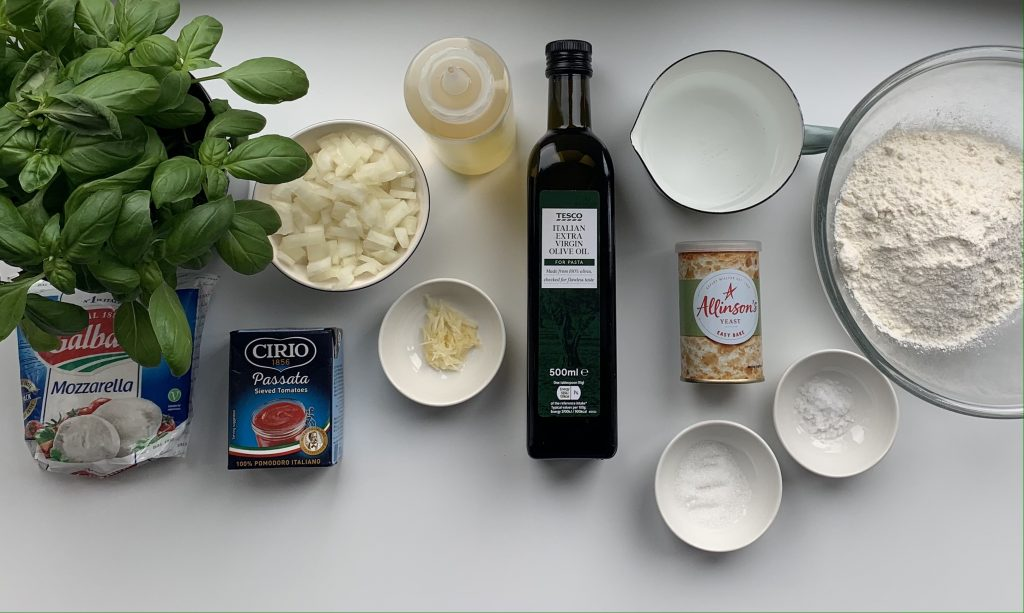 Ingredients for gluten free pizza