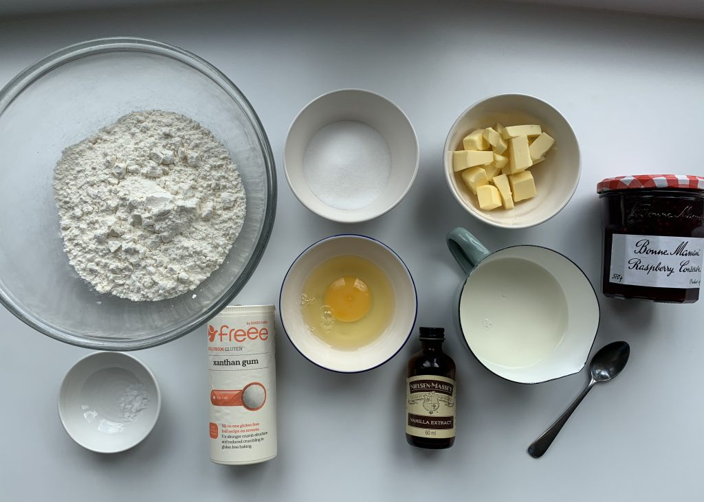 Ingredients needed for gluten free raspberry buns