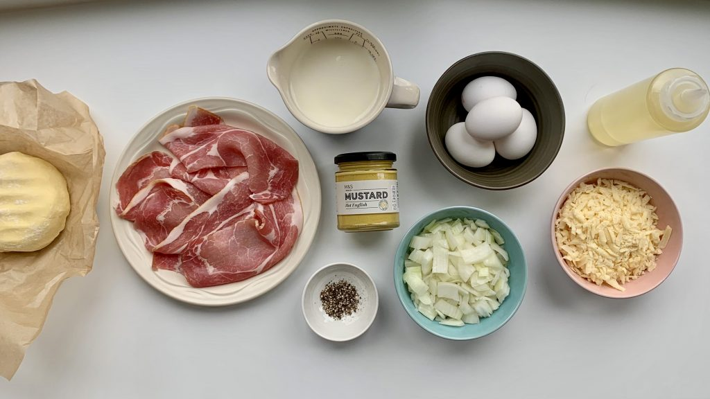 Ingredients for gluten free quiche Lorraine