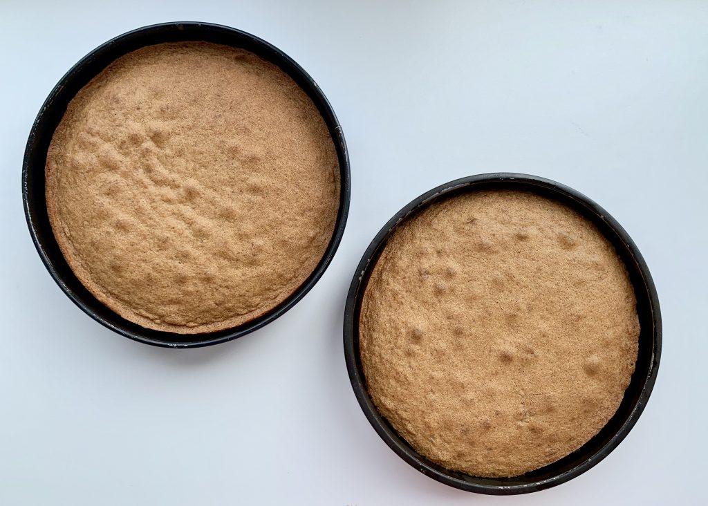 Gluten free coffee and walnut cake sponges