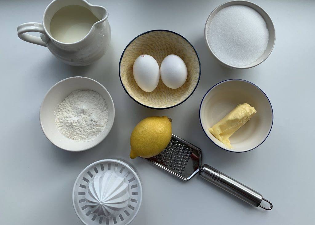 Flat lay of ingredients for a gluten free lemon surprise pudding