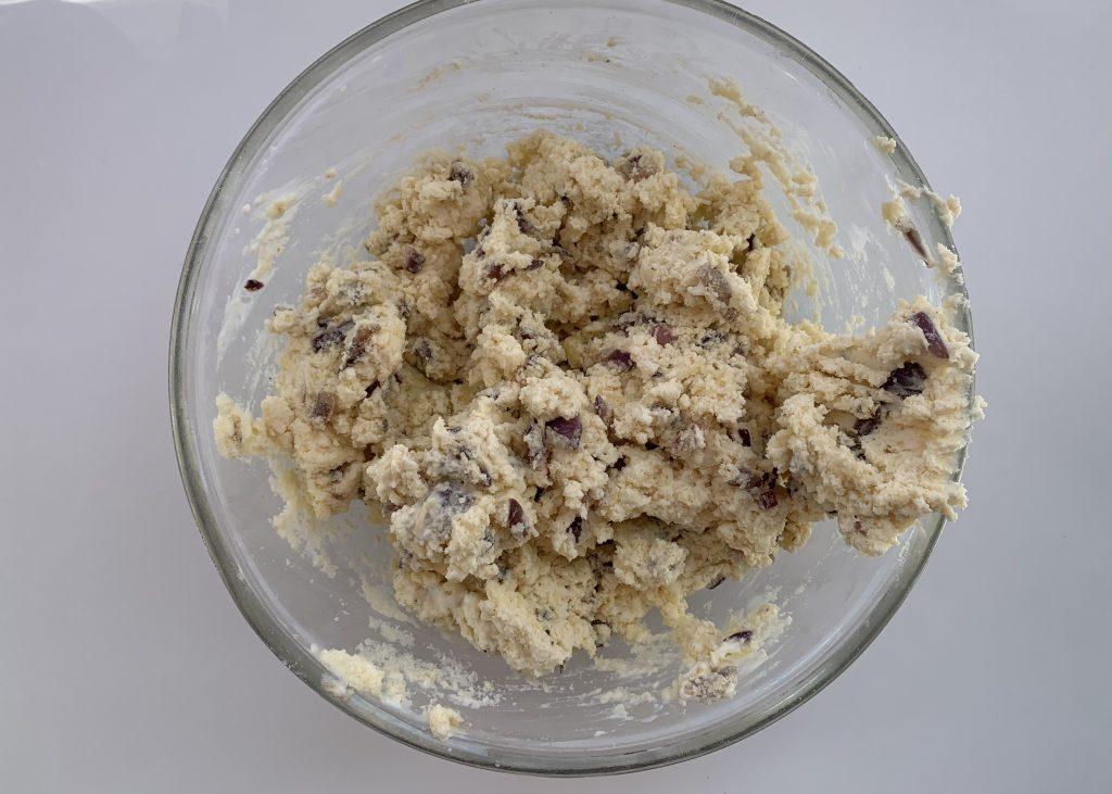 Gluten free cheese and red onion buttermilk scones mixture